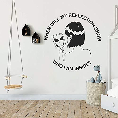 Blrpbc Pegatinas de Pared Adhesivos Pared ¿Quién Soy yo por Dentro? Decoración de la habitación del Dormitorio del hogar del Arte de la Silueta estética 114x114cm