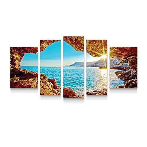Startonight Cuadro Moderno en Lienzo Sentarse en la Ventana, Pintura Paisaje Formato Grande, Conjunto de 5 Piezas Para Salon Decoración 90x180 cm