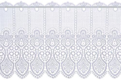 Plauener Spitze by Modespitze, Store Bistro Gardine Scheibengardine mit Stangendurchzug, hochwertige Stickerei, Höhe 41 cm, Breite 96 cm, Weiß