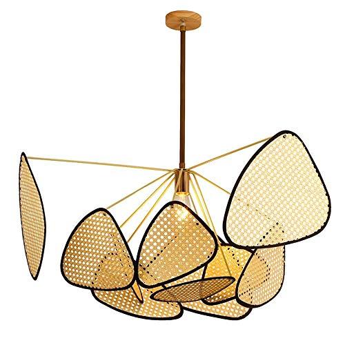 JIAXIAOYAN Lámparas Modernas LED Comedor lámpara del Dormitorio Luces Pendiente de la lámpara, la Rejilla Hecha a Mano de bambú de la Armadura de Mimbre Rattan Cortinas de la lámpara Lámpara Colgante