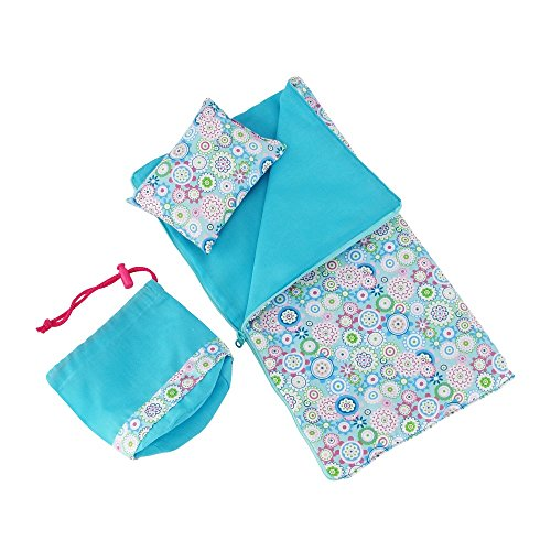 """Emily Rose 14 Inch Doll Accessories   Reversible Multicolored Sleeping Bag Bed Bedding Set with Pillow and Drawstring Storage Bag   Compatible with 14.5"""" Wellie Wishers and 14"""" Glitter Girls Dolls -  Emily Rose Doll Clothes, INS5004"""
