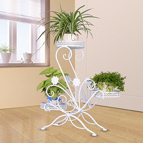 Européen - Style Iron Art Fleur Rack Multi - étages Intérieur et extérieur Plancher châssis Balcon Salon Pot de fleur Présentoir Cadre antique en métal décoratif (Couleur : Blanc)