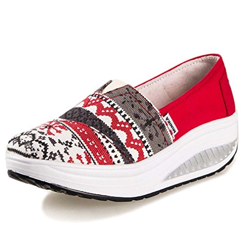 Minika Solshine Damen Keilabsatz Plateau mit Mustern Loafers Sneaker Bequeme Laufschuhe, Rot, Gr. 38