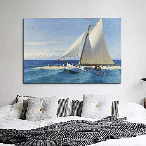 N / A Edward Hopper Segelboot Leinwand Gemälde Druck Wohnzimmer Wohnzimmer Dekoration Kunstwerk Moderne Wandkunst Ölgemälde Poster Bild 40x60CM NO Rahmen