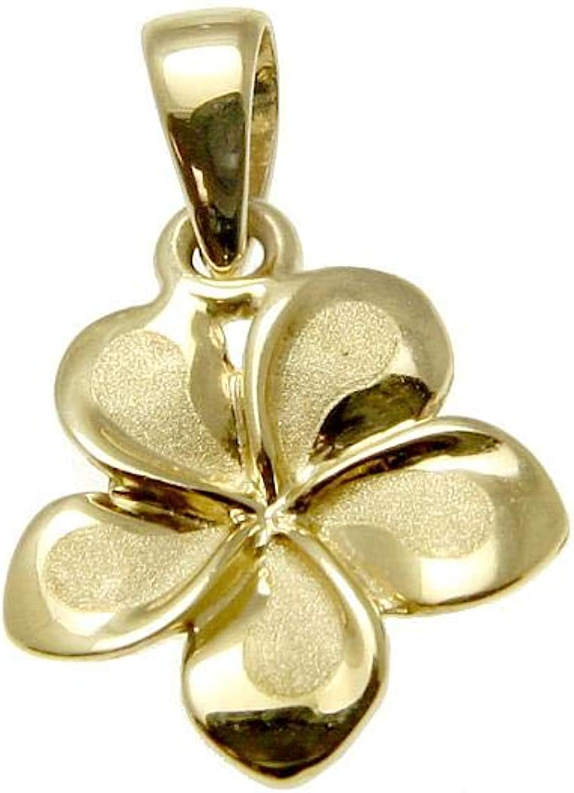 14k Cheap SALE Start solid yellow gold Hawaiian sold out plumeria flower charm p fancy 9mm
