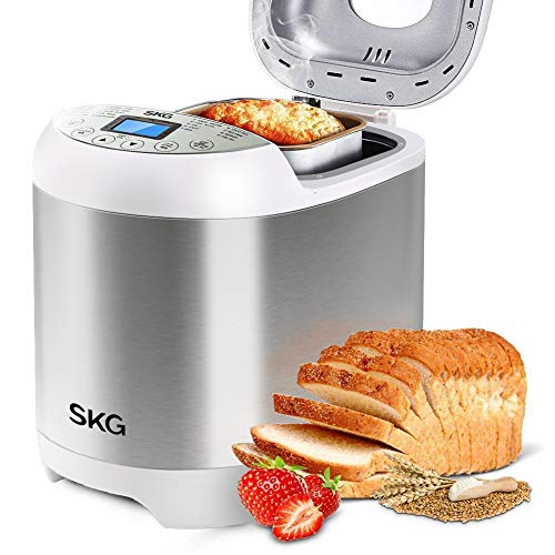 SKG 2LB Automatic Programmable Bread Machine Multifunctional Bread Maker (19 Programs, 3 Loaf Sizes, 3 Crust Colors, 15 Hours Delay Timer, 1 Hour Keep Warm)-Gluten Free Whole Wheat Breadmaker