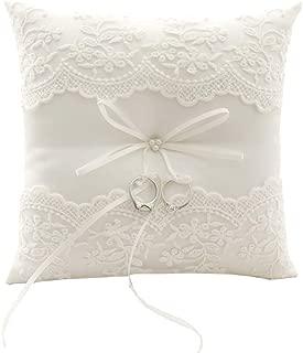 BETAULIFE Wedding Ring Pillow, Ivory Ring Bearer Pillow,Ring Bearer Cushion 8.26 Inch for Wedding Party