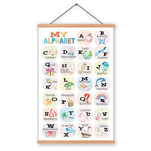 KAIRNE Adorable Alphabet Canvas Wall Art with Wood Magnetic Poster Hanger Frame,Framed ABC Educational Art Print,Nursery Hanging Poster for Classroom,School Kid Bedroom Decor