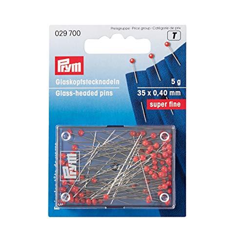 Prym Glaskopfstecknadeln, Stahl, rot, 35 x 0,4mm