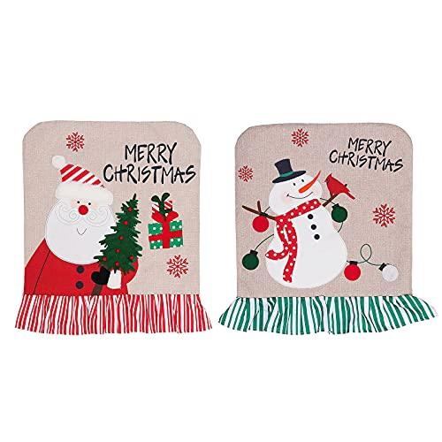 QYLJZB 2 fundas para sillas de comedor navideñas, fundas para respaldo de silla para Navidad, fundas para asiento de silla, protector para vacaciones, hogar, fiesta, decoración de hotel