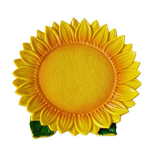 TOPBATHY Harz getrocknete Früchte Platte Simulation Pflanzen Nuss Gericht dekorative Schmuck Tablett (gelbe Sonnenblume)