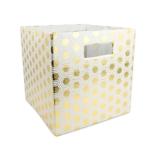 DII Hard Sided Collapsible Fabric Storage Container for Nursery, Offices, & Home Organization, (11x11x11) - Honeycomb Gold