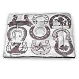 prunushome Horseshoe Dog Bed Kennel Pad Lucky Number Seven Star Pet Shock Mat (31'x21')