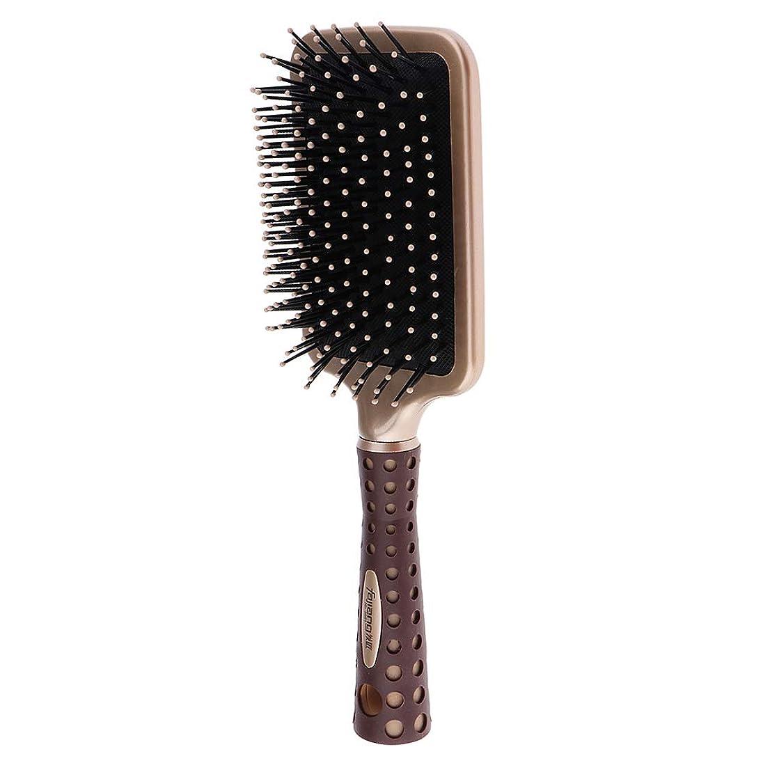 ビジネス波紋穏やかなP Prettyia 静電防止櫛 クッションヘアブラシ 頭皮マッサージ コーム 2サイズ選べ - L
