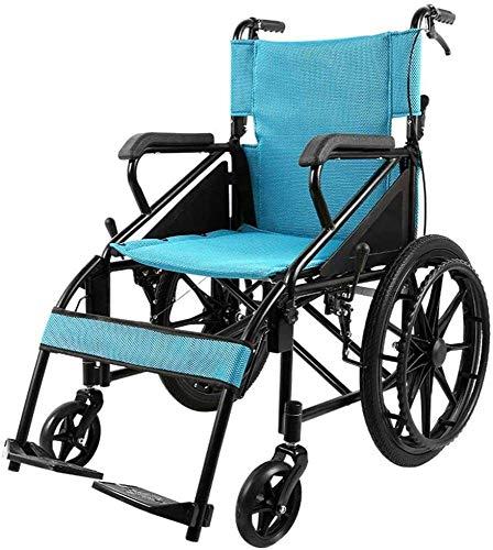Silla de enfermería ligera y simple, de espalda de alta respaldo, silla de viaje plegable ligera para discapacitados trastornos de parálisis cerebral trastornos de pierna de parálisis / azul / 95 × 70