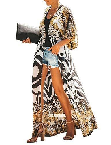 Womens Chiffon Beach Swimsuit Bikini Cover Up Summer Floral Long Kimono Cardigan Dress