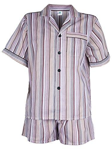 SOUNON Herren Batist Pyjama gestreift Braun - Kurz, Groesse: 54