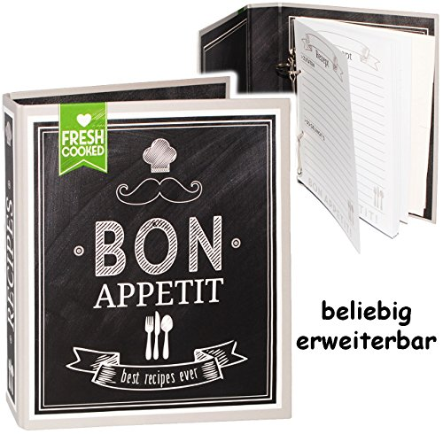 alles-meine.de GmbH Kochbuch & Backbuch - Ordner / Ringbuch / Sammelordner -  Bon Appetit - Beste Rezepte  __ 25 Seiten - ERWEITERBAR - Rezeptbuch zum selberschreiben mit Regis..