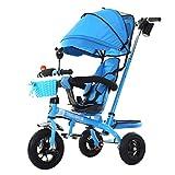 Cochecito de bebé Exclusivo para niños de 1-6 años Bicicleta de Triciclo para niños | Reposabrazos Ajustable | Asiento Giratorio | Embrague | Arnés de Seguridad | Frenos (Azul)