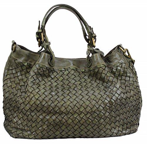 BZNA Bag Rene verde Italy Designer Damen Handtasche Schultertasche Tasche Schafsleder Shopper Neu
