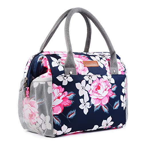 Amersun Insulated Lunch Bag for WomenSturdy Spacious Wide Open Lunch Box ToteEasy Cleaning Water-resistant Leakproof Lunch Cooler with Pockets for Adults Girls College Work Office PicnicBlue Peony