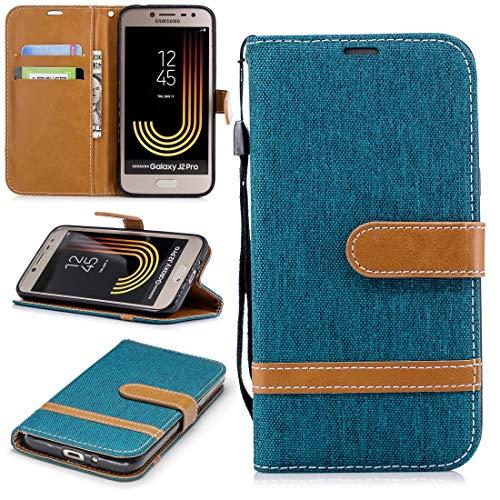 LICHONGGUI Teléfono Protector Funda de Cuero con Textura de Mezclilla a Juego del Color For Galaxy J2 Pro, con Soporte y Ranuras For Tarjetas, Cartera y cordón (Color : Green)
