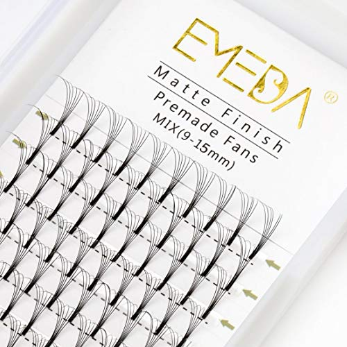 EMEDA Premade Fans Eyelash Extensions Mixed Tray 0.10 C D Curl 5D Premade Volume Eyelash Extensions Long Stem Pre Made Fanned Russian Volume Lash Extensions (5D .10 D Curl 9-15mm Mix Tray )