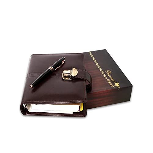 bed44eca5 COI Brown Leatherette Executive Organizer Diary   Planner With Pen 2018 New  Year Gift Set