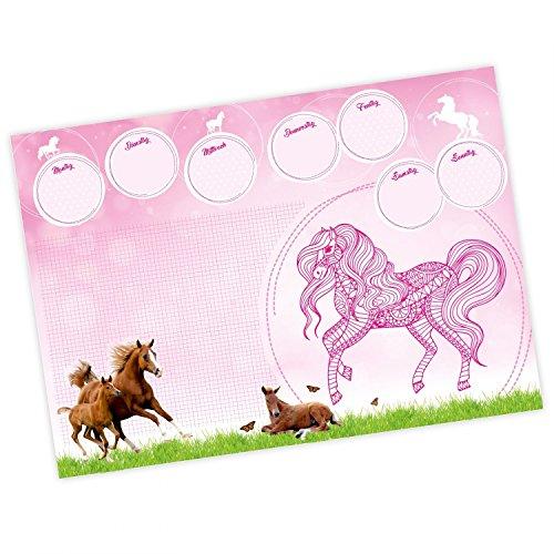 Kinder Schreibtischunterlage Pferde pink rosa mit Mandala - 25 Blatt Papier zum abreißen, A2 Malunterlage - Geschenk zum Schuleintritt Schulanfang Einschulung Mädchen