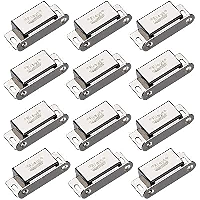 Cabinet Magnetic Catch Jiayi 12 Pack Magnetic Closures for Cabinet Door Magnetic Cabinet Catch 15lbs RV Drawer Latches and Catches Stainless Steel Magnetic Latch for Kitchen Closet Cupboard Closer