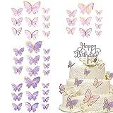 xiaowang 40 adornos para tartas de mariposa, decoración de tartas, decoración de tartas, para fiesta de cumpleaños, baby shower, boda, fiesta, decoración de pared