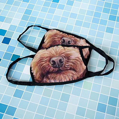 YAN Unisex gezichtsmasker, puppy mondmasker, schattig hondengezichtsmasker, verstelbaar anti-stofgezichtsmasker voor outdoor sportreizen, nylon elastische doek