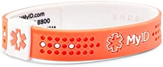 myID Sport Medical ID Bracelet Salmon/White SM - Free Medical Profile To Store Medical Information - Lightweight Silicone Material - Great for Those with Diabetes, Autism, Etc - Fits Kids & Adults