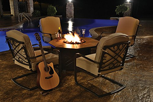 Northlight 5-Piece Aluminum Patio Chair and Gas Fire Pit Outdoor Furniture Set