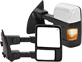 Pair Power Heated Towing Mirrors with Amber Turn LED Signal Rearview Automotive Exterior Mirrors Compatible with 1999-2007 Ford F250/F350/F450/F550 Super Duty, for 2001-2005 Ford Excursion - L&R