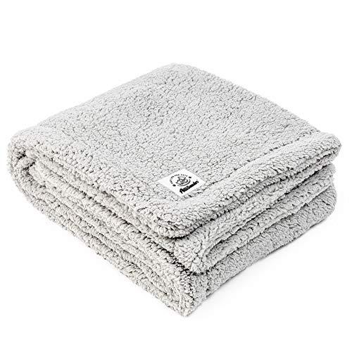 ALLISANDRO Flauschige Hundedecke 120x80cm Grau Hellgrau Katzen Decke mit super Soft weiche zweiseitige Flauschige Haustier-Decke, Überwurf für Hundebett Sofa und Couch