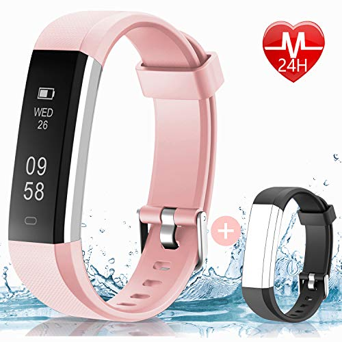 HolyHigh 115U Smart Fitness Band, Waterproof Fitness Tracker Watch for Men Women Kids Step Counter Claroie Counter Messages Call Alarm...