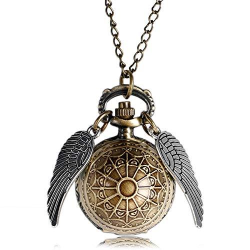 Herren Harry Potter Goldener Schnatz Taschenuhr, Bronze Ball Form mit Flügel Quarz Halskette Taschenuhr, Geschenk für Herren