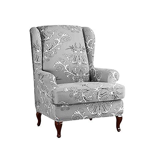 Zoyay Funda de sillón orejero elástica con Orejas Fundas sillón Relax Protector de Muebles Reclinable Fundas para Butacas Funda Sofa 1 Plaza Sala2 Piezas-Gris_style3