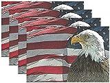 Retro Patriotic Th Of July Tovagliette Con Aquila Bandiera Americana Tovagliette Per Il Giorno Dell'Indipendenza Tovagliette Antiscivolo Lavabili Resi30 Cm X 45 Cm (12 Pollici X 18 Pollici) 6 Pezzi