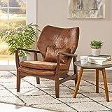 Christopher Knight Home 304781 Haddie Mid Century Modern Fabric Club Chair, Brown and Dark Espresso