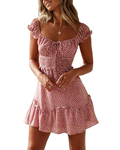 Ybenlover Damen Blumen Sommerkleid High Waist Volant Kleid Vintage Minikleid Strandkleid, Ziegelrot, S