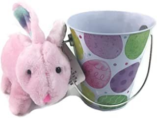 Babys First Easter Basket Bundle 2 Items Girl 1 Soft And Cuddly Pink Bunny 1 Keepsake Tin Bucket Greenbrier International