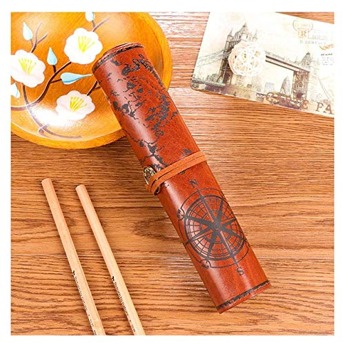 Miles Sail Vintage Piraat Roll Up Imitatie Lederen Pen Pencil Case Tassen Schatten Kaart Gift Favor make-up Cosmetische Tas Hoge capaciteit School