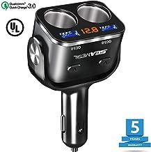 SEAMETAL USB Car Charger Quick Charge,Dual-port USB Car Charger Adapter,2 Socket Cigarette Lighter Splitter 3.0 (Black)