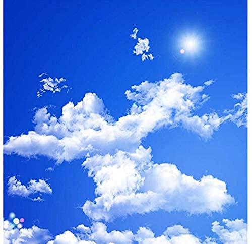 Jbekjg Blauer Himmel Weiße Wolken Sonnenschein Decke Zenith Wandbild Benutzerdefinierte 3D-Fototapete Für Wohnzimmer Decke Dekoration Wandbild Tapete-140X100Cm (55 39Inch)-150X80Cm