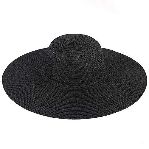 Sun Hat Straw Hat Fashion Straw Hat Women Sun Hats Protection Visor Designed Wide Brim Beach Cap-Black