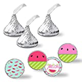 """One In A Melon Birthday Party Kiss Sticker Labels, 300 Party Circle Sticker sized 0.75"""" for Chocolate Drop Kisses by AmandaCreation, Great for Party Favors, Envelope Seals & Goodie Bags"""