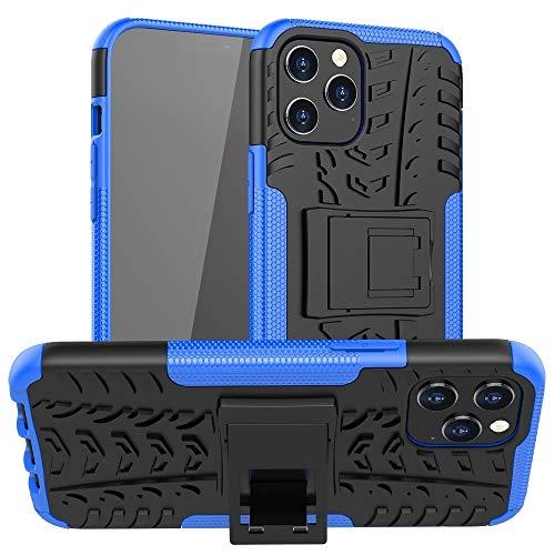 RUNNA para iPhone 12 Pro MAX Tire Texture TPU + PC Funda Protectora con Titular (Color : Blue)