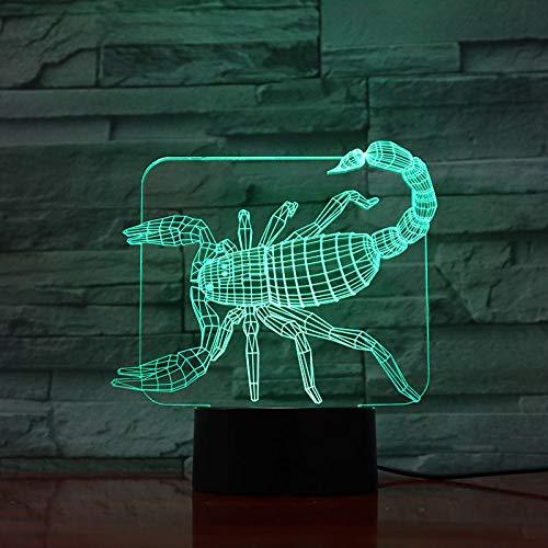 Nur 1 Stück Animal Scorpion 3D Lampe Berührungssensor 7 Farbwechsel Dekorative Lampe Kind Kinder Baby Kit Nachtlicht Skorpion Led Nachtlicht